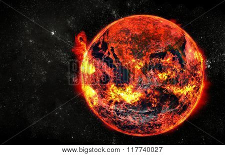 Burning earth at cosmos. Elements of this image furnished by NASA