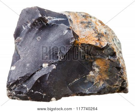 Black Flint (chert) Crystalline Rock Isolated