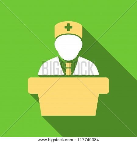 Health Care Official Flat Long Shadow Square Icon