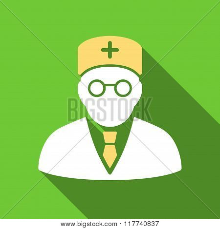 Main Physician Flat Long Shadow Square Icon