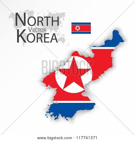 North Korea ( Democratic People 's Republic Of Korea ) ( Flag And Map )