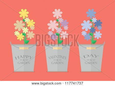 Flowers In Pots With Word Happy Valentine's Day