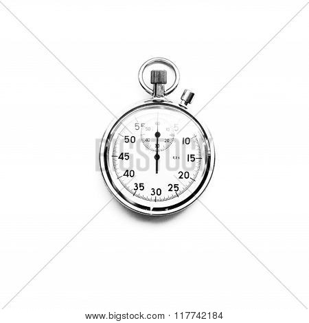 Black and white mechanic old fashioned stopwatch