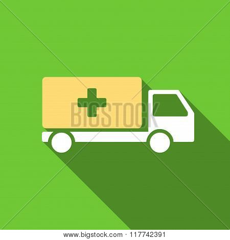 Medical Shipment Flat Long Shadow Square Icon
