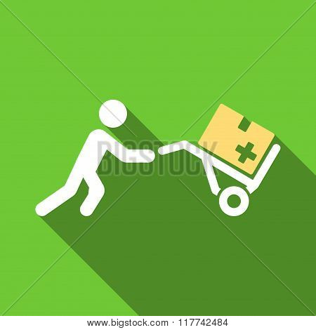 Medical Shopping Flat Long Shadow Square Icon