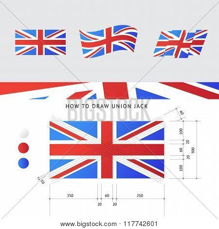 Vector Union Jack Flag With Precise Scheme