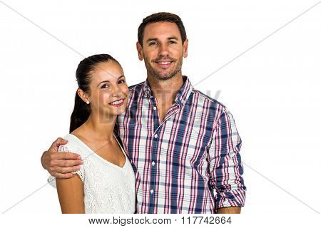 Portrait of smiling couple looking at camera on white screen