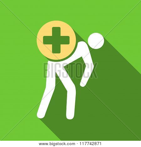 Medication Courier Flat Long Shadow Square Icon