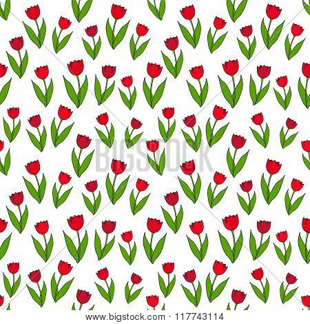 Seamless background with flat icons of red tulips