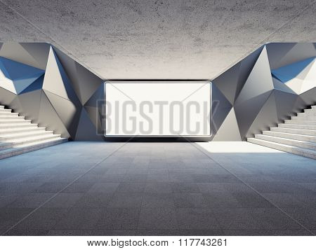 Blank advertising billboard on concrete wall in underground. 3d rendering.