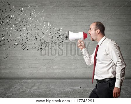 music go out from megaphone