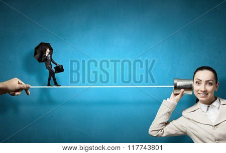 Woman using deaf phone