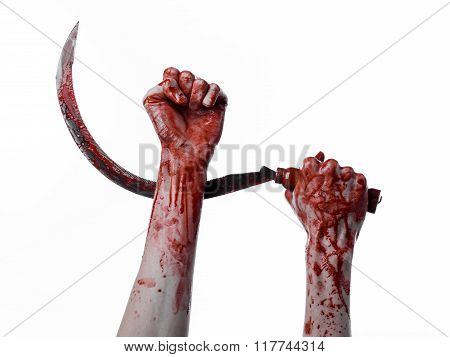 Bloody Hand Holding A Sickle, Sickle Bloody, Bloody Scythe, Bloody Theme, Halloween Theme, White Bac