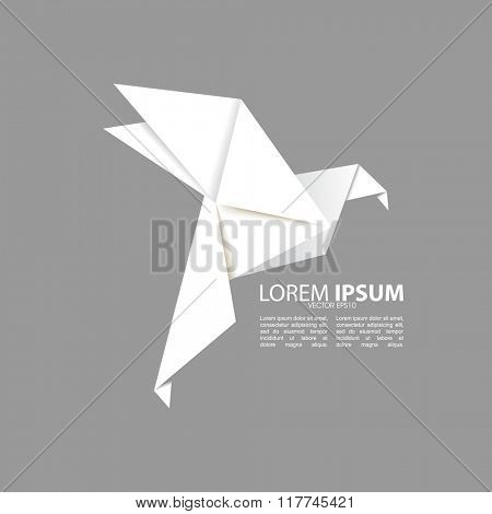 origami white bird isolated