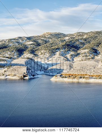 Horsetooth Reservoir and Rock in winter scenery, landmarks of Fort Collins in northern Colorado