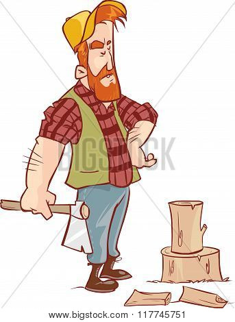 Vector Illustration Of A Lumberjack In Forest