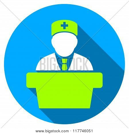 Health Care Official Flat Round Icon With Long Shadow