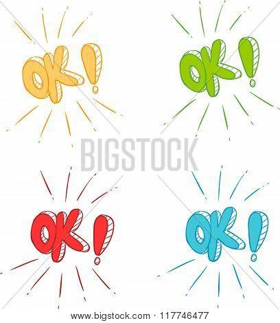 Vector Illustration Of A Ok Symbol Signs