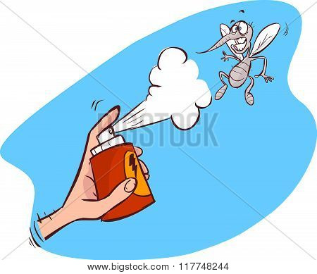 An Illustration Of A Mosquito Gets Hit Spray