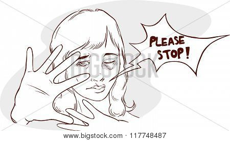 Vector Illustration Of A Stop Violence Against Women