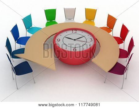 3d arm-chair of chief and group of office chairs at a table as an clock put by a half-round