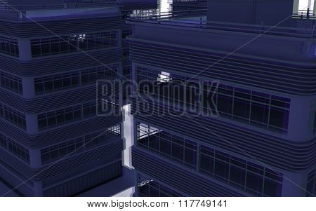 Abstract modern architecture. 3d render background
