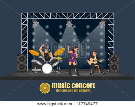 Rock music band pop professional scene concert.