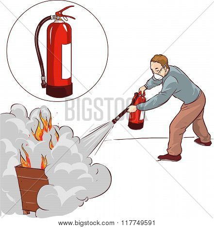 Vector illustration of a Man putting out a fire