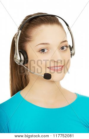 Call center smiling woman operator.