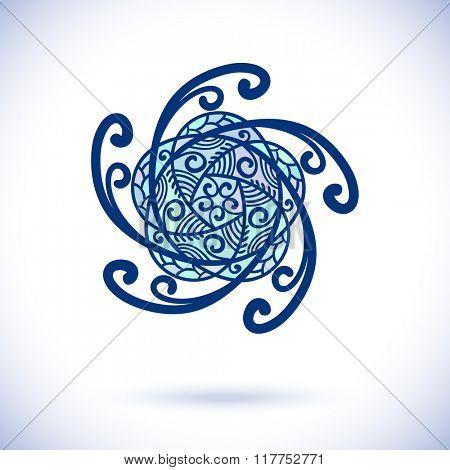 Geometric pentagonal design element, Ornamental blue mandala