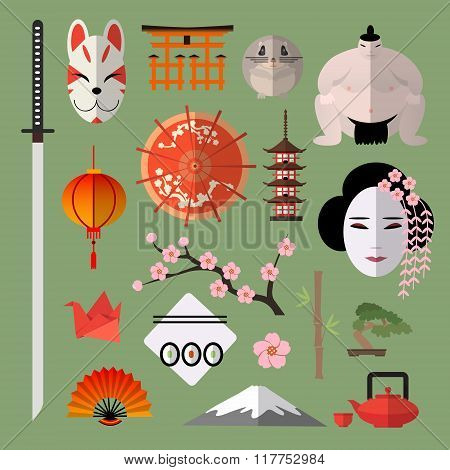 Vector set of icons with japanese elements
