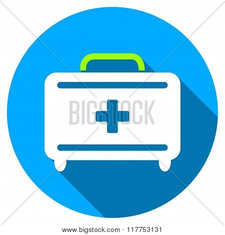 First Aid Toolkit Flat Round Icon With Long Shadow