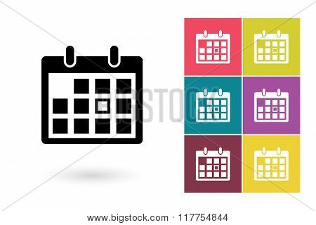 Calendar icon or calendar pictogram