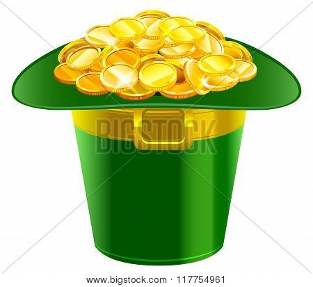 Patrick hat full of gold coins. Patrick green hat with gold buckle