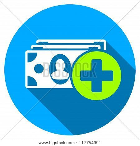 Medical Expences Flat Round Icon With Long Shadow
