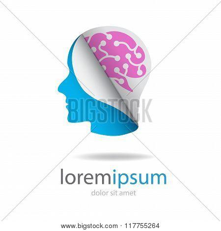 Head With Pink Brain Logo
