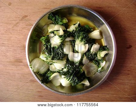 Cantonese food vegetable stir fry pak choi