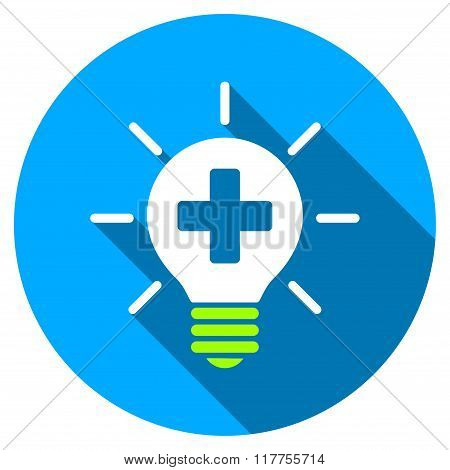 Medical Lamp Flat Round Icon With Long Shadow