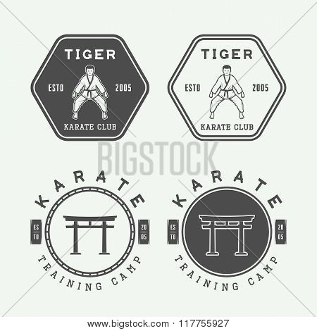 Set Of Vintage Karate Or Martial Arts Logo, Emblem, Badge, Label And Design Elements.