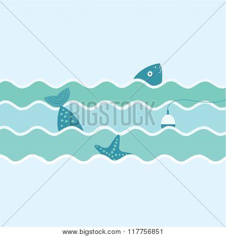 Fish, Float And Starfish. Fishing Trip