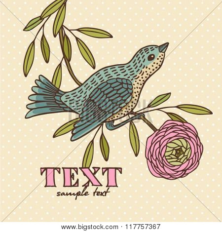 vector illustration of a bird and blooming flowers in a vintage style