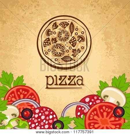 Pizza. Vintage fast food background.
