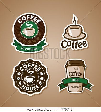 Four coffee design templates. Vector banners.