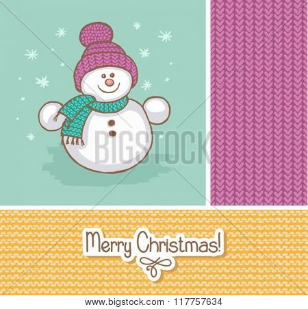 Vector of happy snowman and snowfall.
