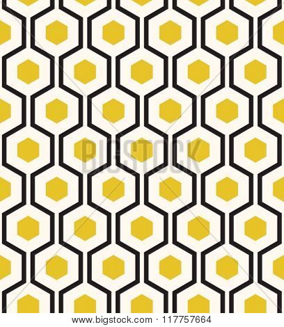 Retro geometric hexagon seamless pattern.