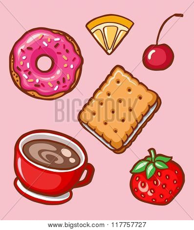 Yummy colorful cookies, donuts and cups of coffee, isolated set