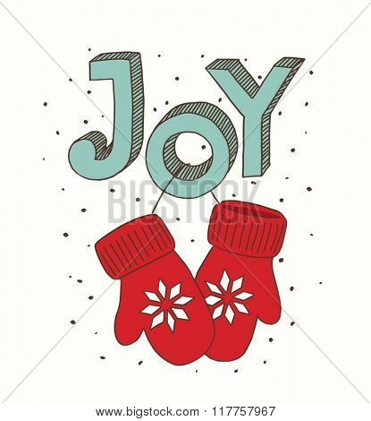 Vector illustration pair of red christmas mittens. Mitten icon. Christmas greeting card with mittens.