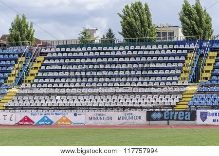 The old stadium tribune on May 24, 2015 in Targu-Jiu.