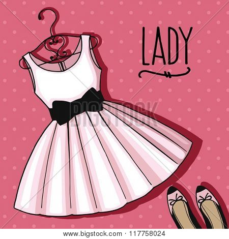 Lady fashion accessories. Illustration clothing set. Stylish and trendy outfit.