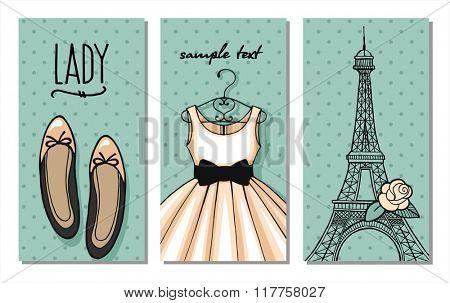 Paris fashion set. vector.